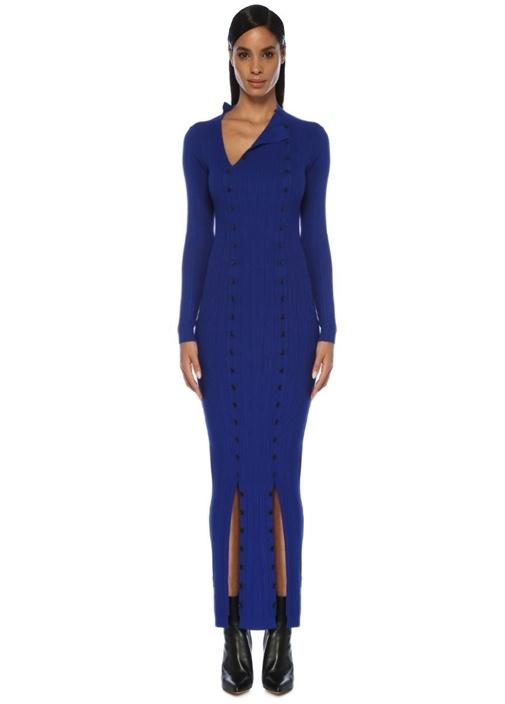 Azur Mavi Yakası Kesim Detaylı Maksi Triko Elbise