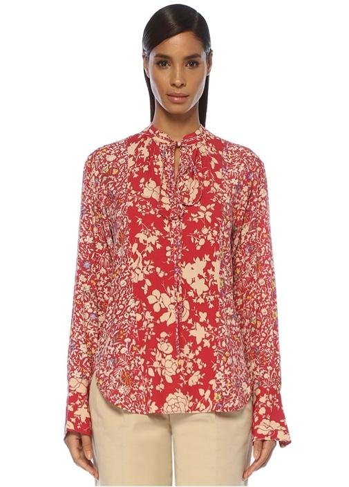 Kırmızı Yakası Bağlı Çiçek Desenli Krep Bluz