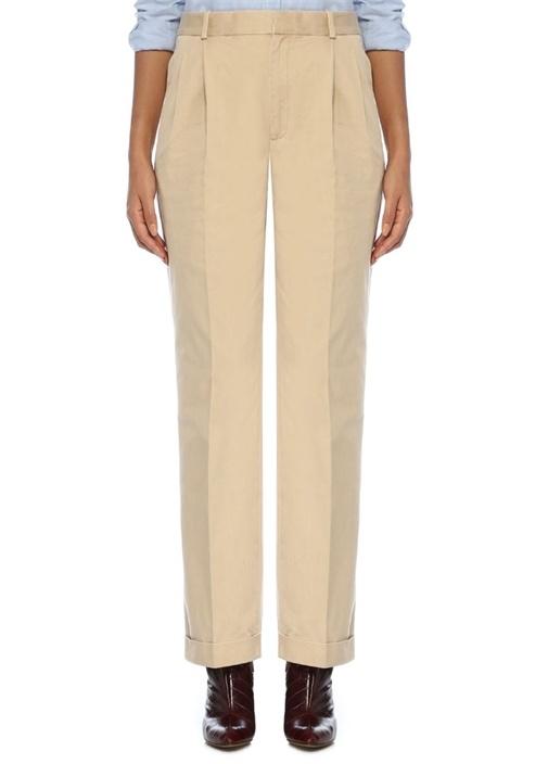 Bej Pile Detaylı Paçası Katlı Bol Pantolon