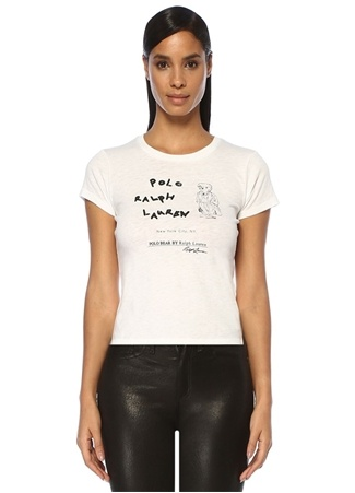 Kadın Beyaz Logo Baskılı T-shirt XS EU
