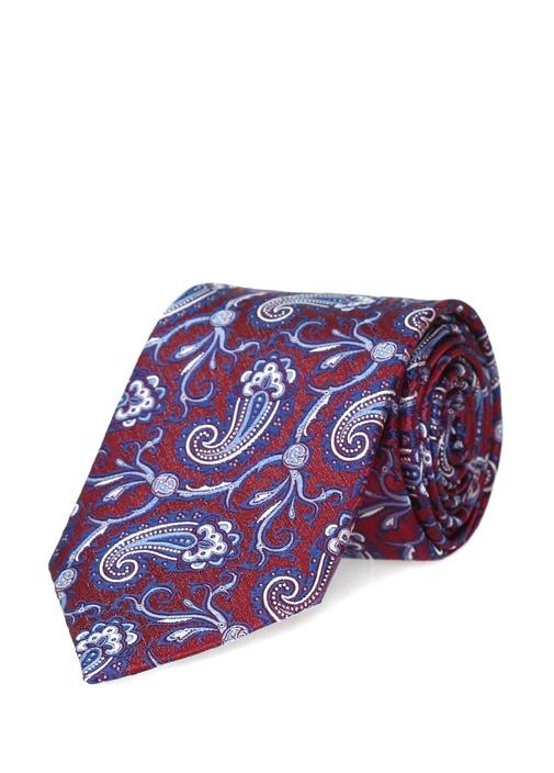 Kırmızı Şal Desenli İpek Kravat