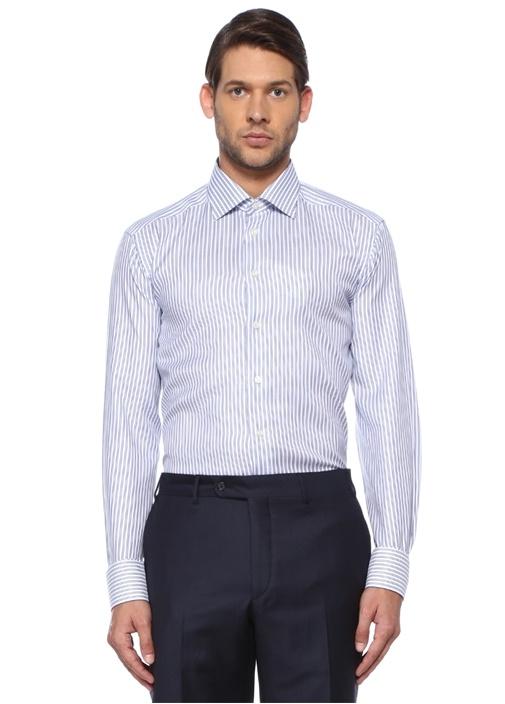 Slim Fit Lacivert Modern Yaka Çizgili Gömlek