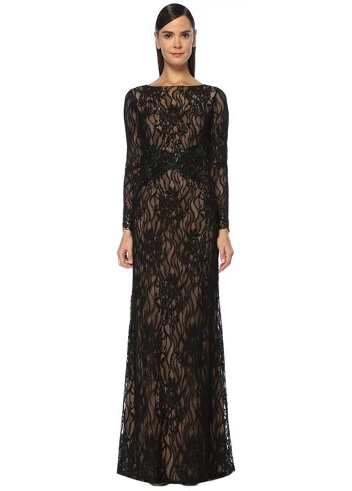 Siyah İşlemeli Uzun Kol Maksi Dantel Abiye Elbise