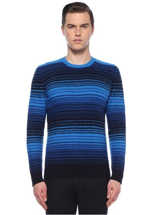 Mavi Siyah Şeritli Yün Kazak
