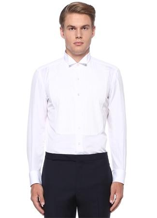 Beyaz Ata Yaka Nervürlü Smokin Gömleği
