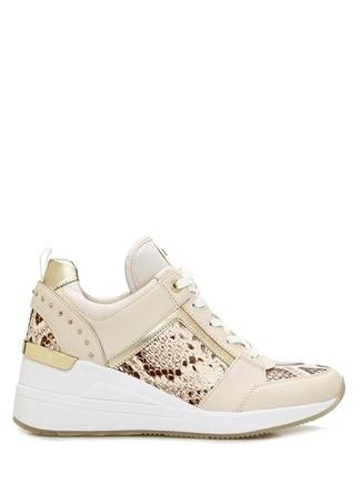 Michael Kors Kadın Georgie Bej Desen Detaylı Deri Sneaker 9.5 US female