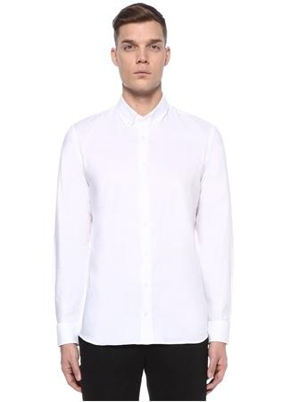 Custom Fit Beyaz Polo Yaka Dokulu Oxford Gömlek