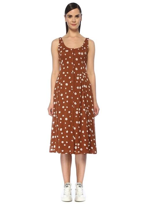 Kahverengi Puantiyeli Sırtı Bağcıklı Midi Elbise