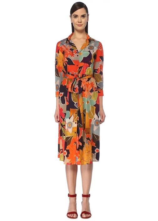 Çiçekli Beli Kuşaklı Midi İpek Gömlek Elbise