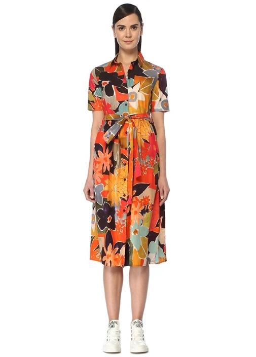 Çiçekli Beli Kuşaklı Midi Poplin Elbise