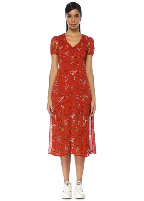 Kırmızı V Yaka Çiçek Desenli Yırtmaçlı Midi Elbise