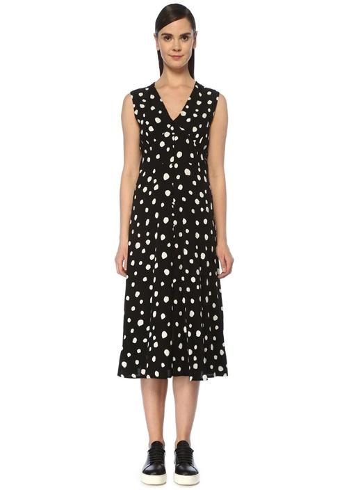 Siyah Beyaz V Yaka Puantiyeli Midi Elbise