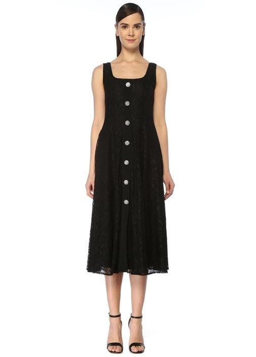 Siyah Taş Düğmeli Midi Dantel Elbise