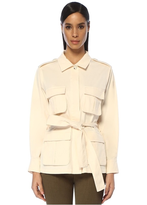 Ekru Sırtı Çiçek Nakışlı Kuşaklı Safari Ceket