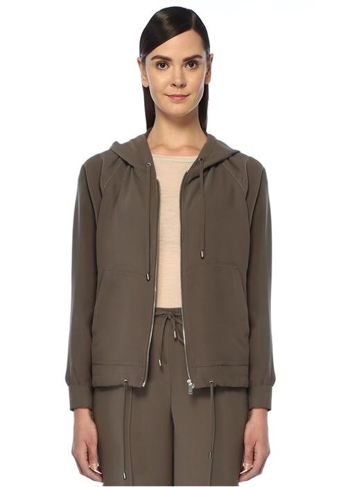 Haki Kapüşonlu Zincir Şeritli Krep Ceket