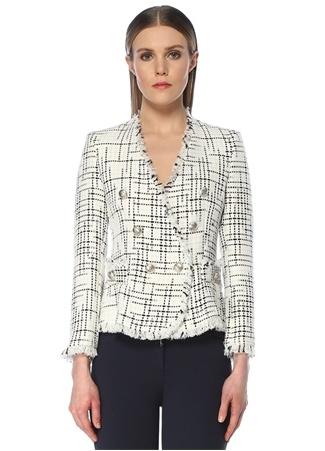 Beymen Club Kadın Lacivert Beyaz Çapa Düğmeli Tweed Ceket 44 female