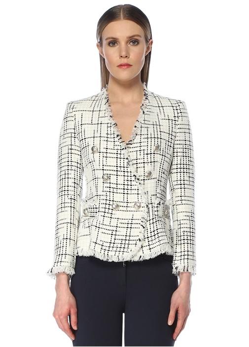 Lacivert Beyaz Çapa Düğmeli Tweed Ceket