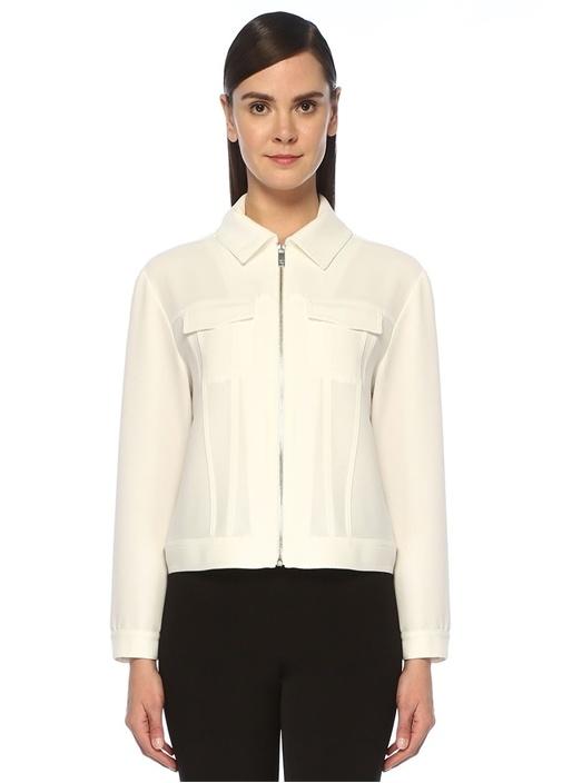 Beyaz Fermuarlı Krep Ceket