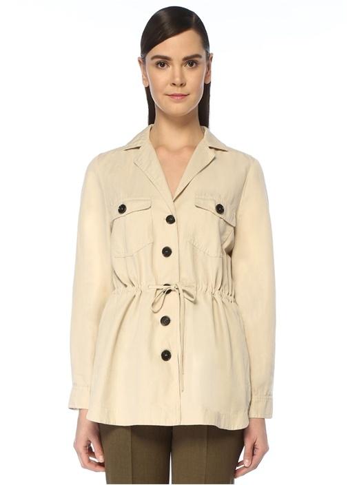Bej Beli Büzgülü Safari Ceket