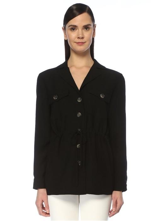 Siyah Beli Büzgülü Krep Safari Ceket