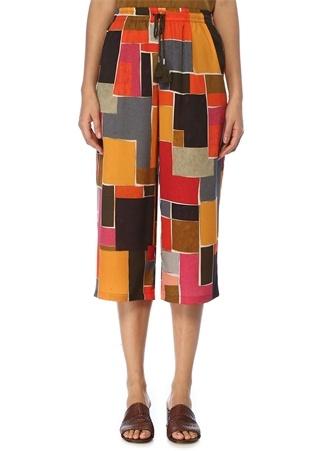 Beymen Club Kadın Yüksek Bel Geometrik Desenli Bol Paça Pantolon 42 Çok Renkli female