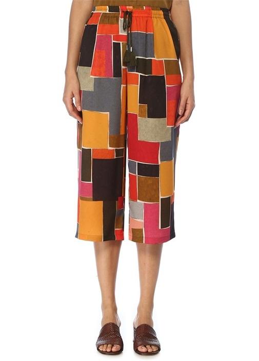 Yüksek Bel Geometrik Desenli Bol Paça Pantolon