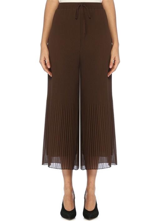 Kahverengi Pilili Bol Paça Şifon Pantolon