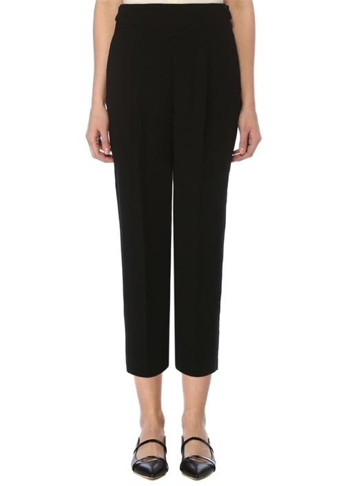 Siyah Yüksek Bel Yanı Kemerli Krep Pantolon