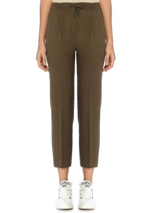 Haki Beli Büzgülü Pijama Formlu Pantolon