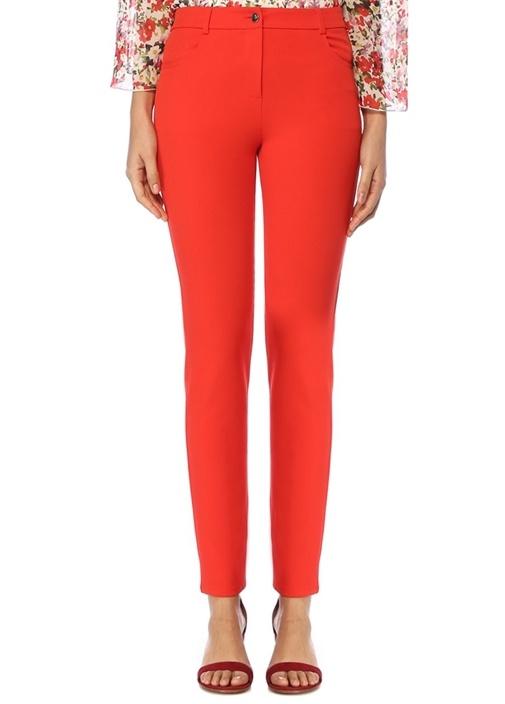 Kırmızı Normal Bel Streç Pantolon