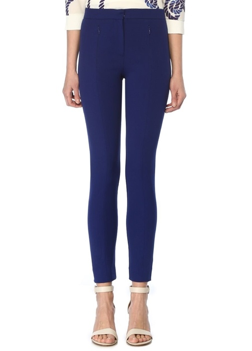 Mavi Fermuarlı Cepli Skinny Pantolon