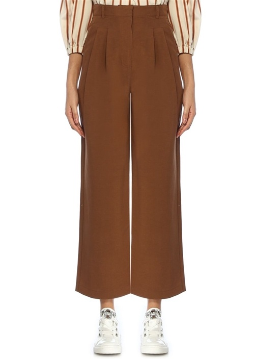 Kahverengi Yüksek Bel Pilili Bol Kesim Pantolon