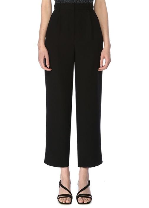 Siyah Yüksek Bel Krep Pantolon
