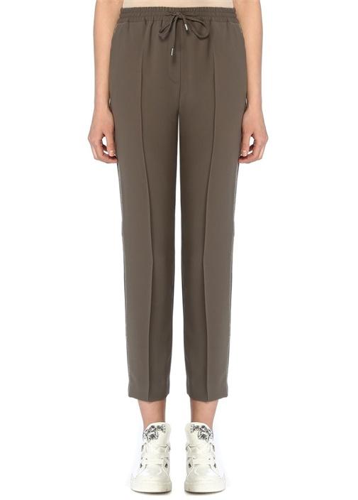Haki Zincir Şeritli Krep Pijama Pantolon