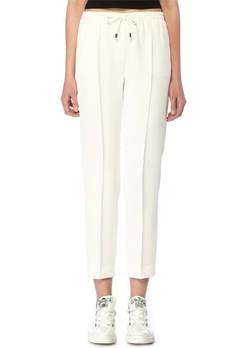 Beyaz Boru Paça Pantolon
