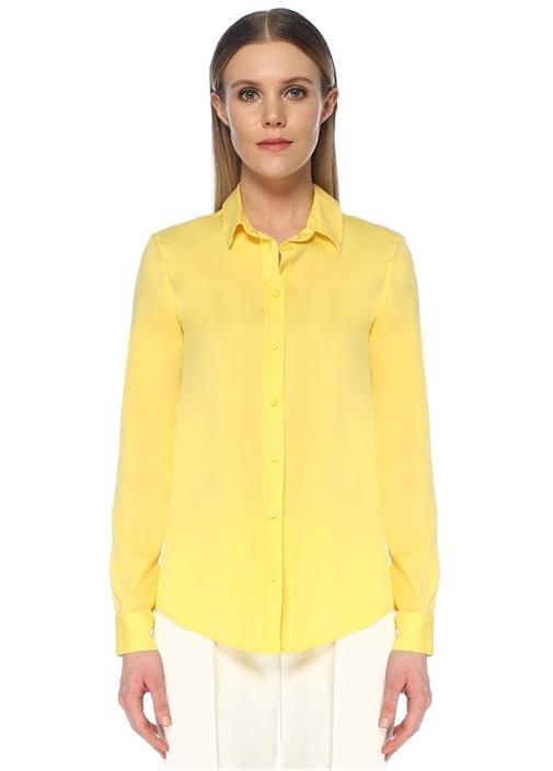 Sarı Küçük Yaka Klasik İpek Gömlek
