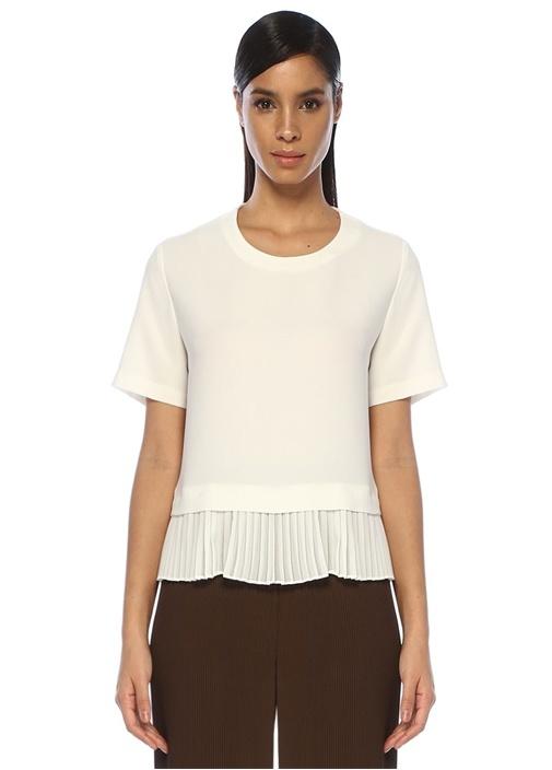 Beyaz Ucu Pili Detaylı Kısa Kol Krep Bluz