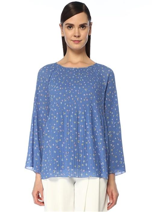 Mavi Çiçek Desenli Şifon Bluz