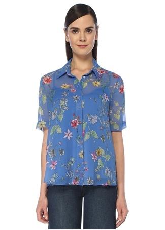 Beymen Club Kadın Mavi Çiçekli Kısa Kol Şifon Gömlek female