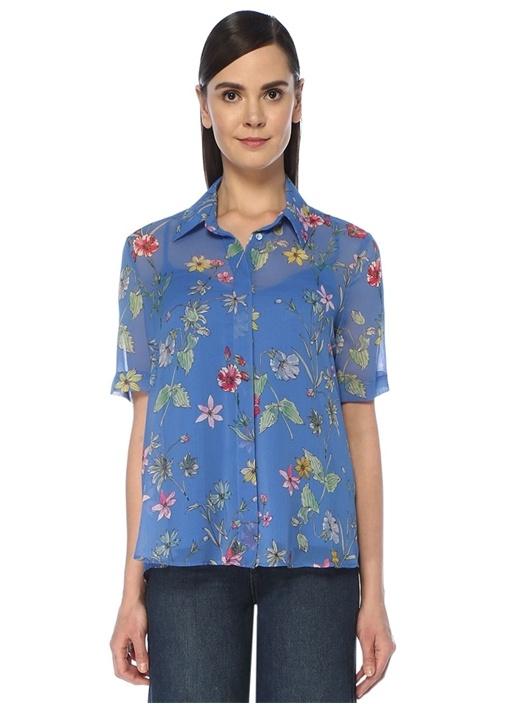 Mavi Çiçekli Kısa Kol Şifon Gömlek