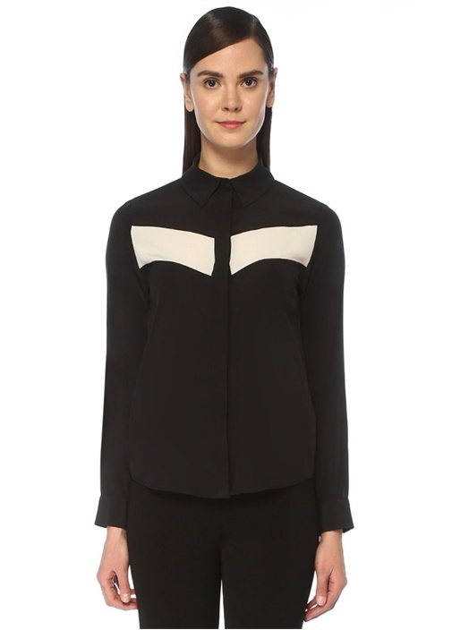 Siyah Beyaz Bloklu İpek Gömlek