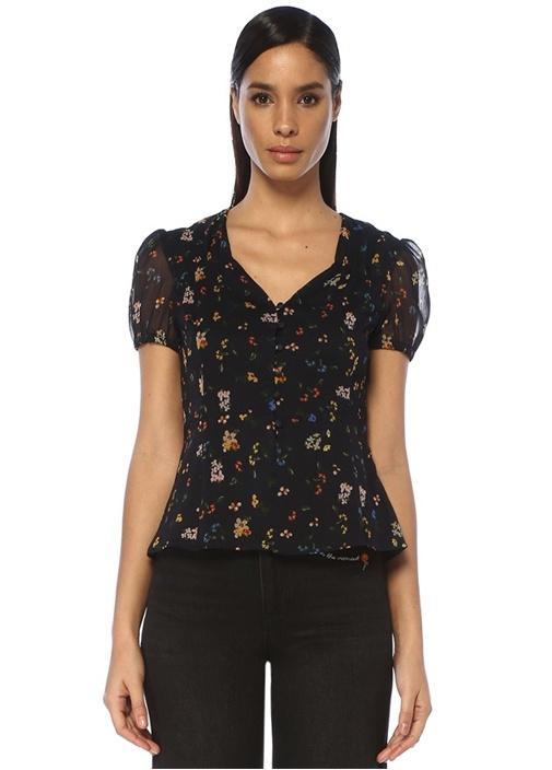 Siyah V Yaka Çiçekli Önü Düğmeli Bluz