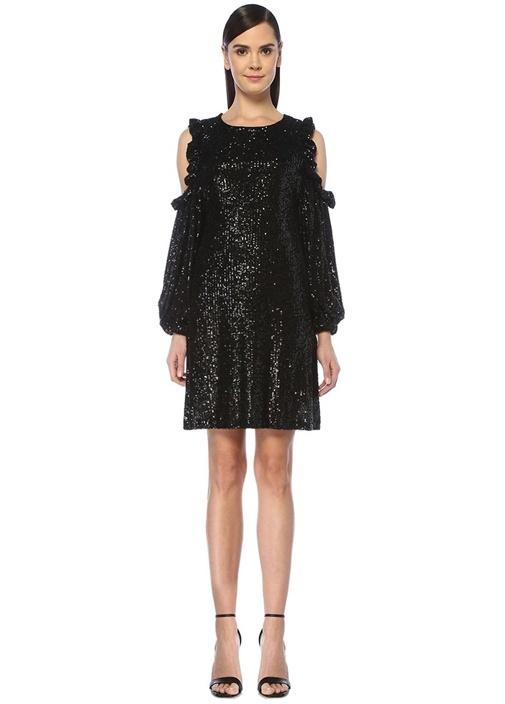 Siyah İşlemeli Omzu Açık Mini Kokteyl Elbise