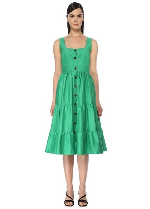 Yeşil Kare Yaka Önü Düğmeli Midi Tafta Elbise