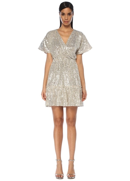 Silver V Yaka İşlemeli Mini Anvelop Elbise