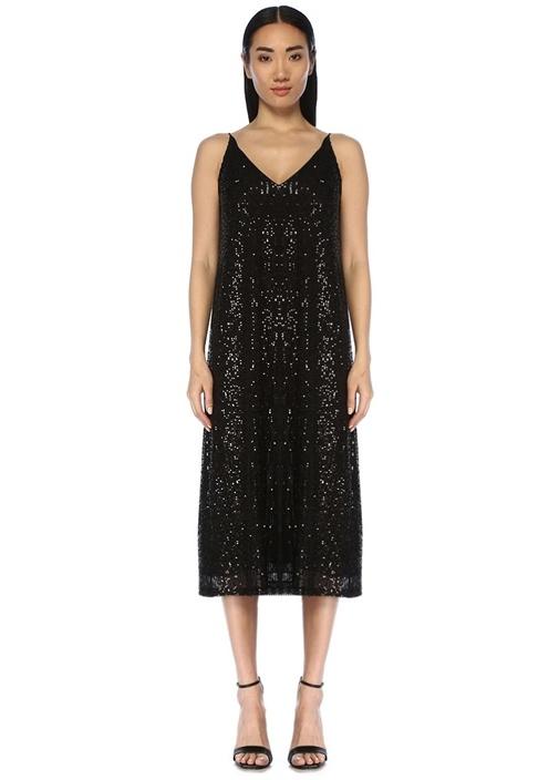 Siyah V Yaka İşlemeli Midi Kokteyl Elbise