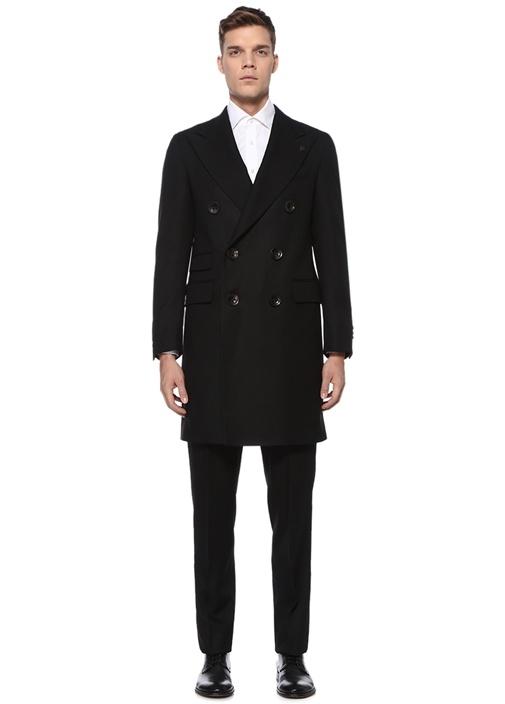 Siyah Kırlangıç Yaka Çizgi Dokulu Yün Palto