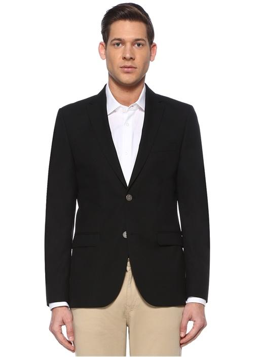 Siyah Kelebek Yaka Dokulu Yün Blazer Ceket