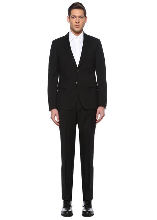 Siyah Kelebek Yaka Yün Klasik Takım Elbise