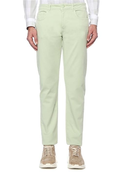 Slim Fit Yeşil Kanvas Spor Pantolon